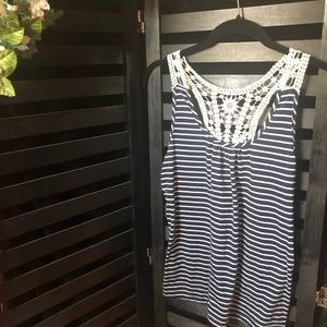 Striped Tank Top with Lace Detail